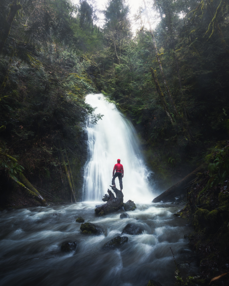 Madison Falls on the Olympic Peninsula me with red jacket by Michael Matti.jpg