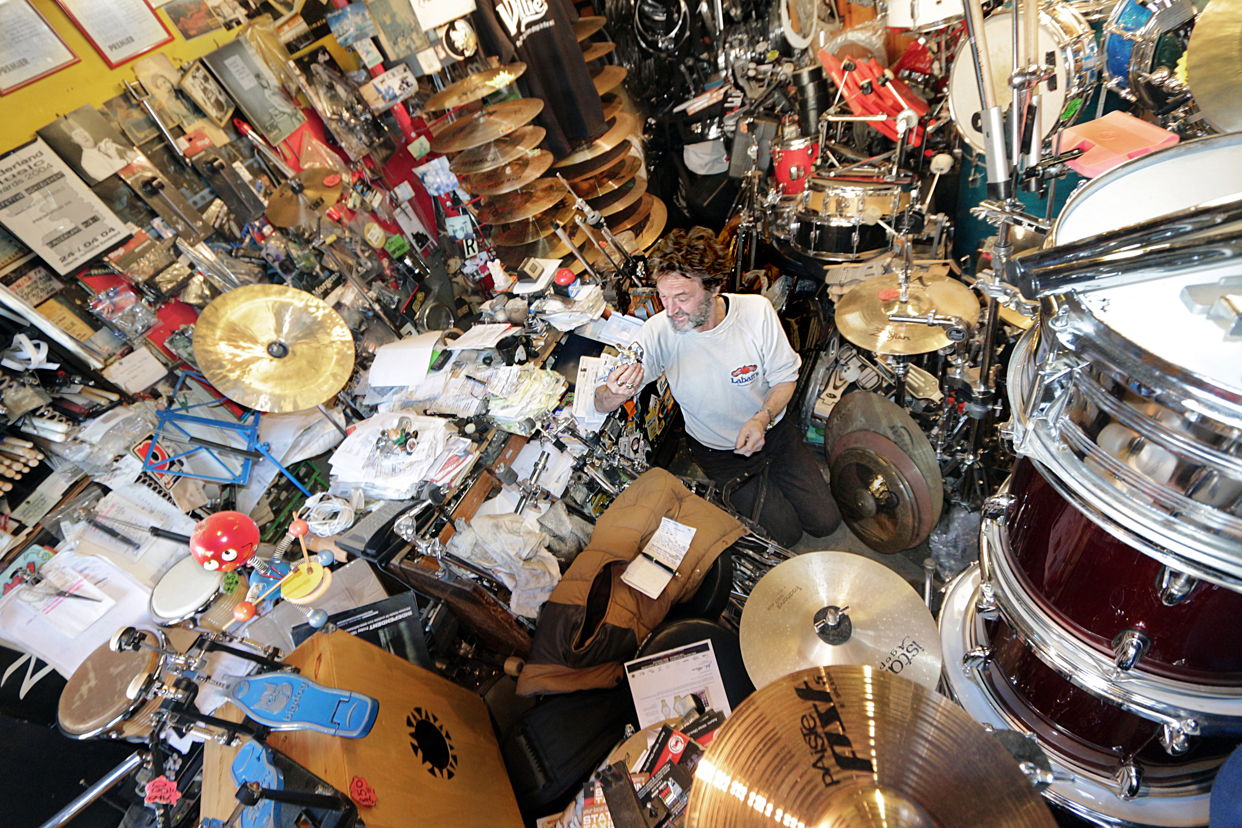 Will Wright, owner of Sunderland Music - the World's smallest drum shop.Photoby: Shaun Thubron
