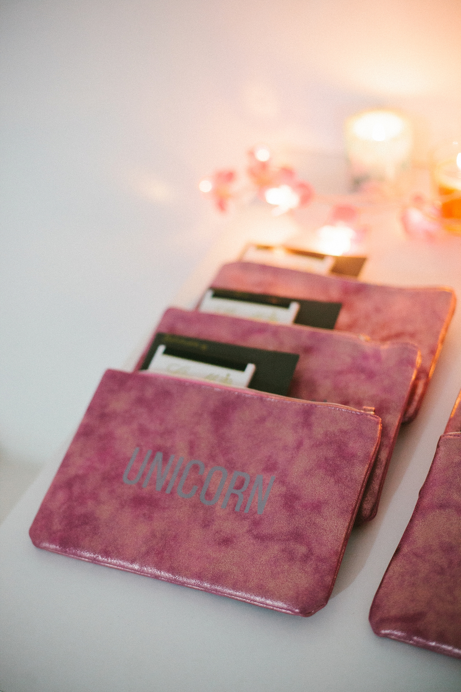 """All participants received a Valentine's Day gift, which wouldn't be complete without delicious, dark chocolate. I chose makeup bags with the word """"Unicorn,"""" as a I believe every woman is uniquely beautiful and a masterpiece of creation."""