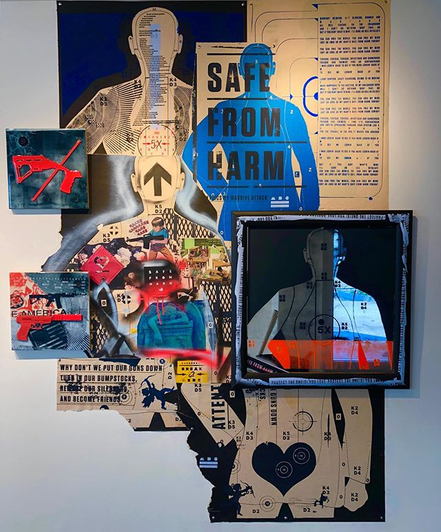 Opening today from 2-6.. new work from @michael_crossett and other artists focused on their perception of the role of gun violence in our country.  @michael_crossett combines screenprinting, laser cut objects and resin along with a site installation. Inspired by massive attacks song safe from here!  Presented at H Space at 91/2 and U street NW.