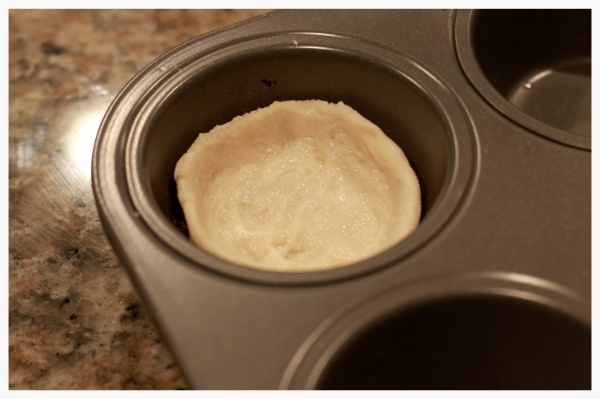 a  well  is formed from the cut dough.
