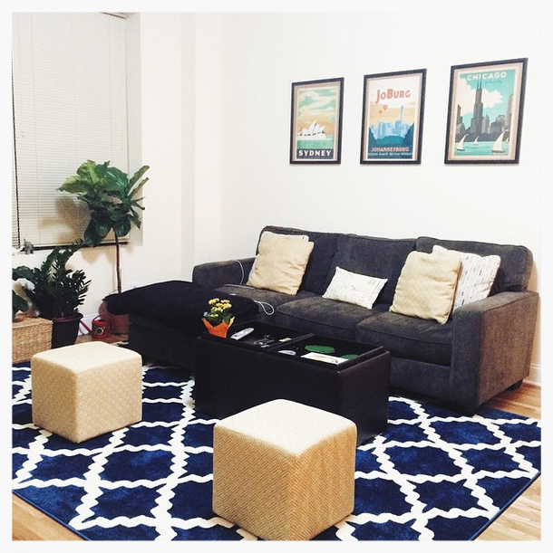 Rug from  Cozy Rugs | Fiddle lead fig tree from  Gethsemane Garden Center