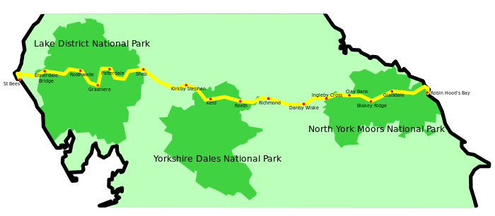The Wainwright Coast to Cost route a 12 day or more walk we will try and run in just 4.