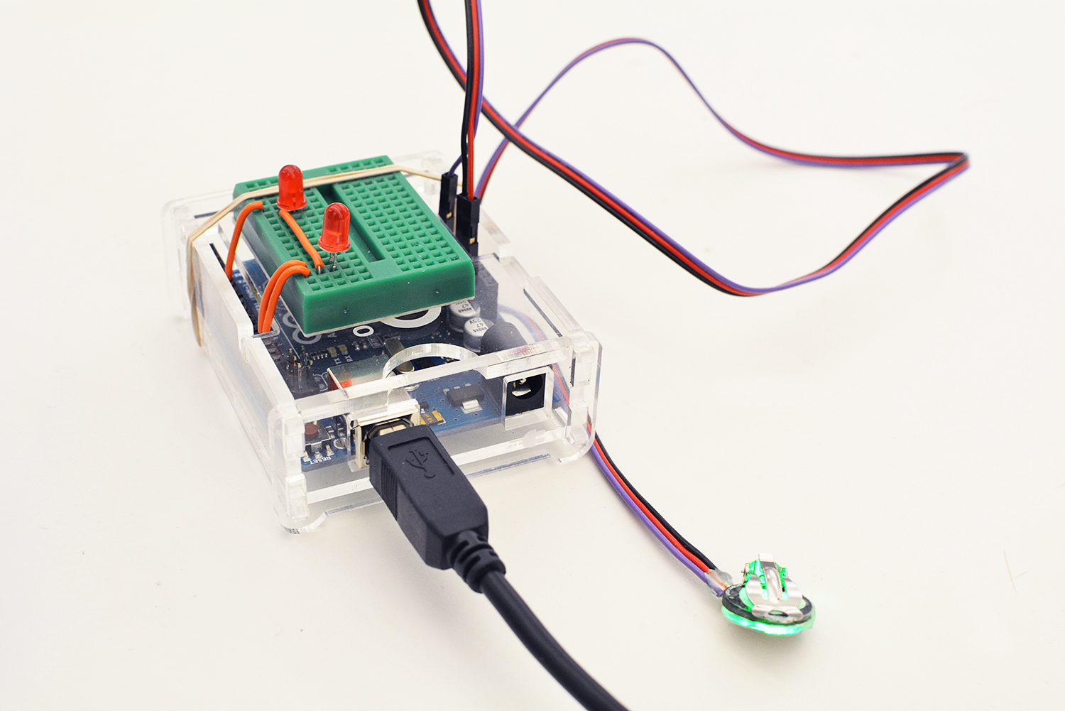 Pulse sensor with leds to indicate your heart rates.