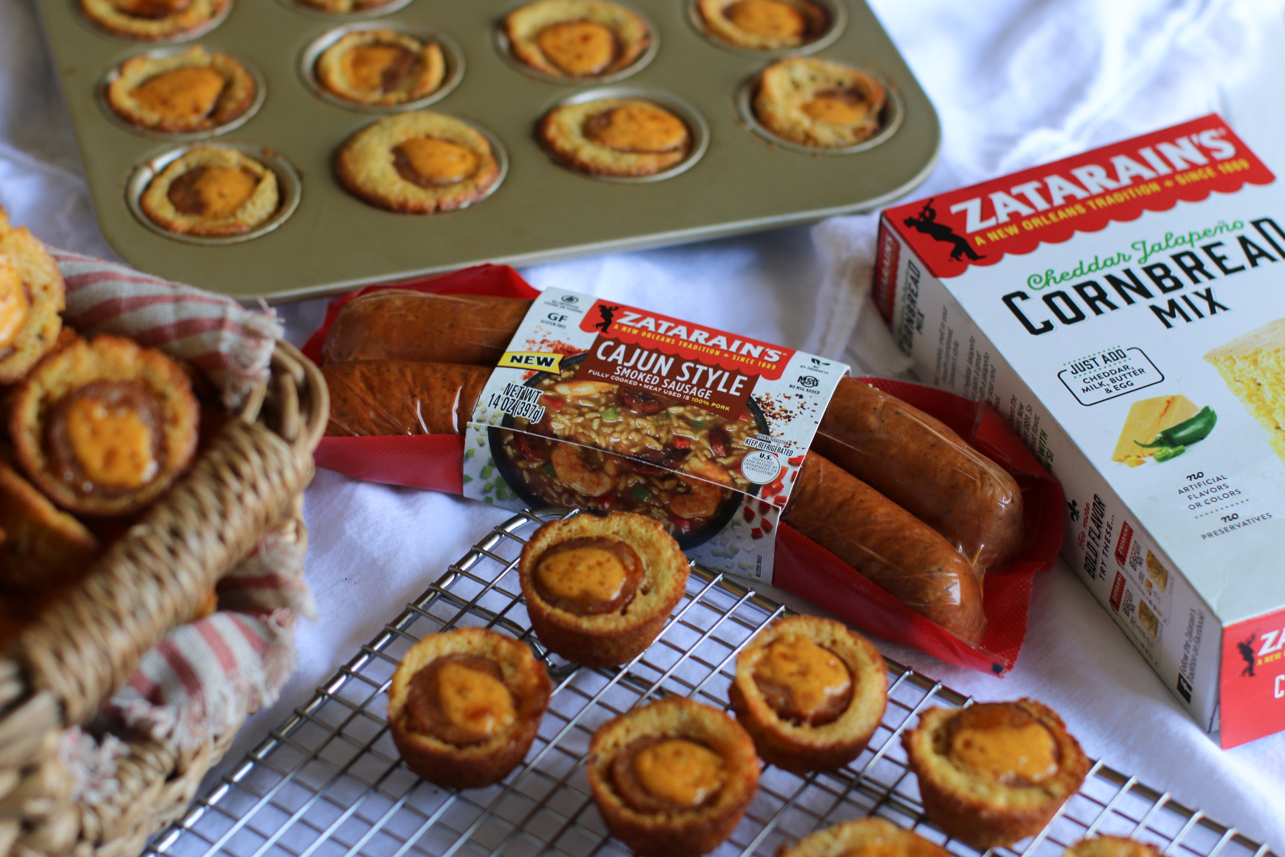 Zatarain's for breakfast? - These Cornbread Sausage Poppers will get you up and at it!