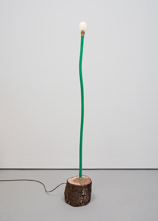 JC16--Hose-Log-Lamp-1_Garden-hose,-copper-tubing,-live-oak,-lightbulb_49-x-6.5-x-7.5-inches.jpg
