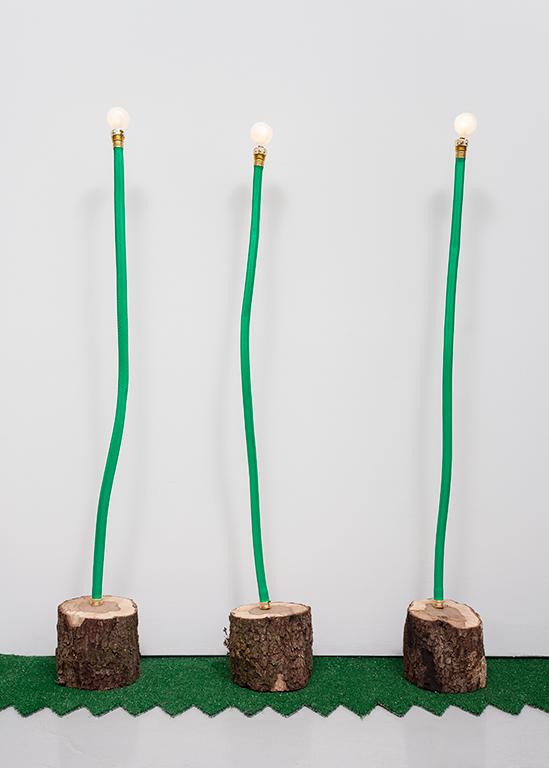 JC16--Hose-Log-Lamps-3,-4-and-5_Garden-hose,-copper-tubing,-live-oak,-lightbulbs_dimensions-variable.jpg