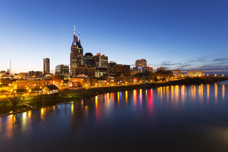 Downtown Nashville at sunset.