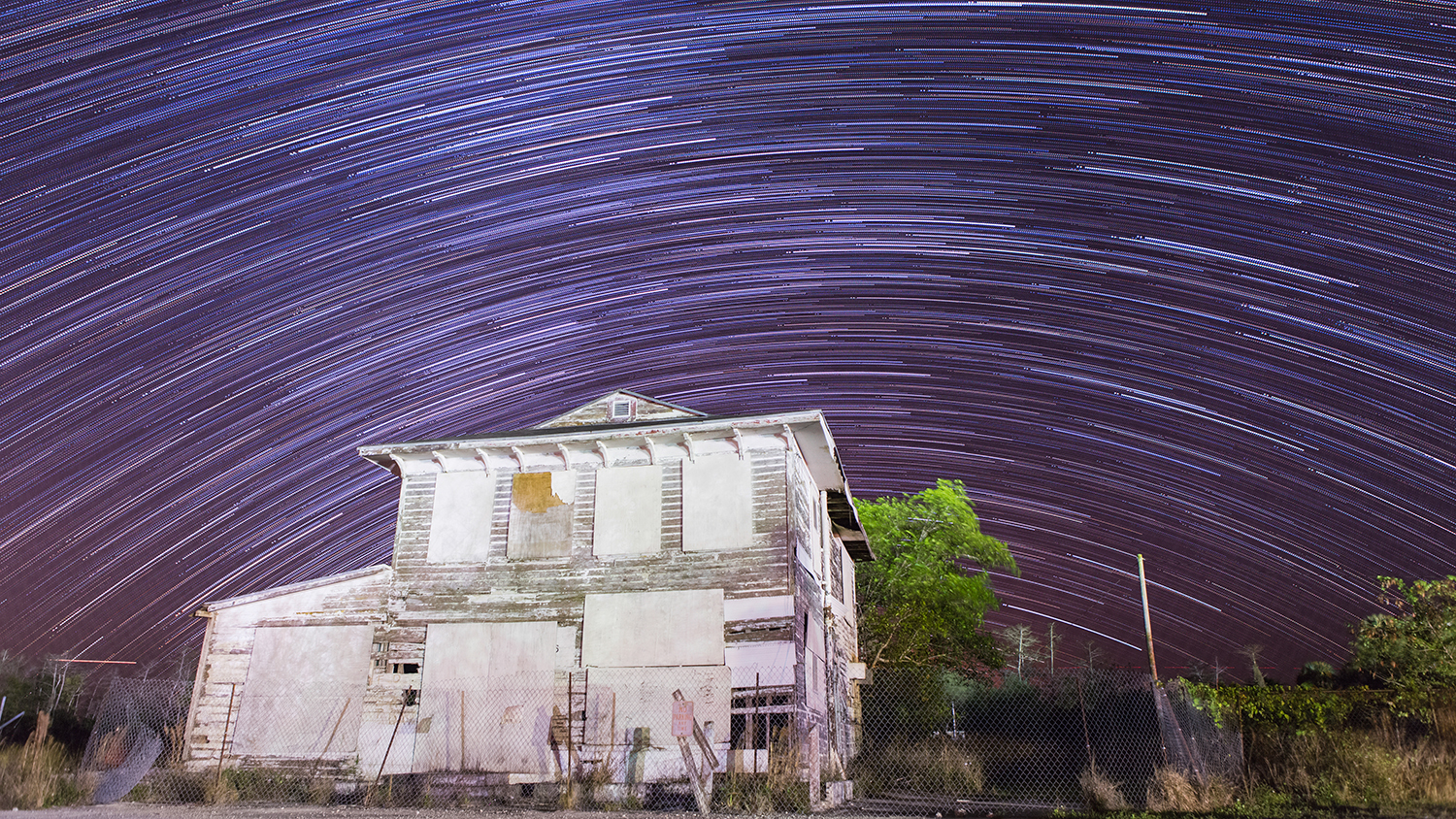 Star trail over Monroe Station