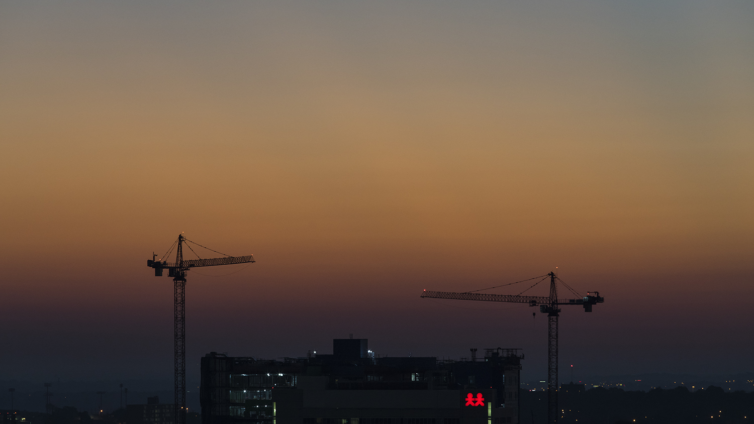 Two of the many cranes around Nashville.