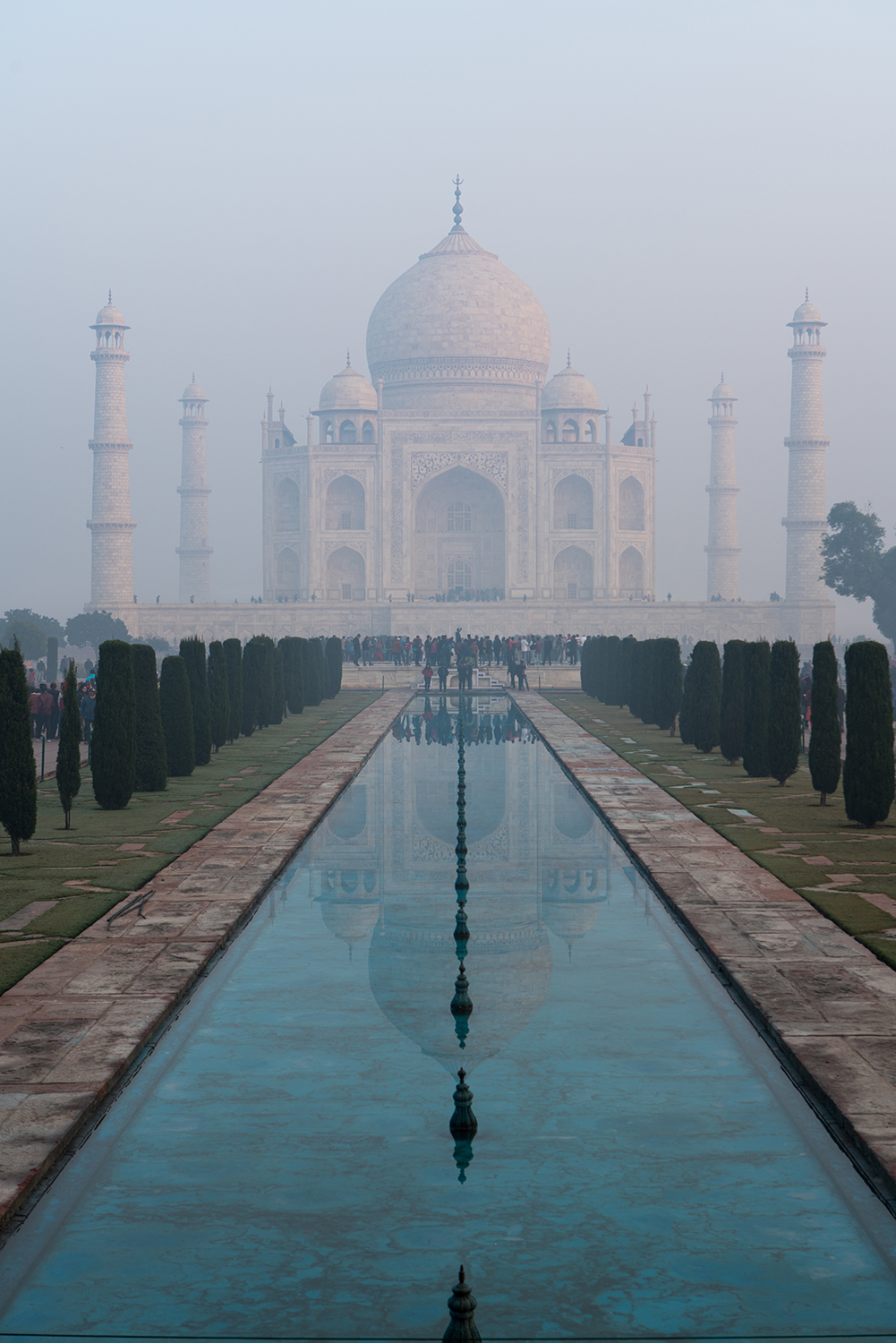 The famous shot of the Taj Mahal reflecting in one of the many pools.
