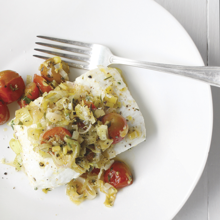 baked halibut with leeks + tomatoes