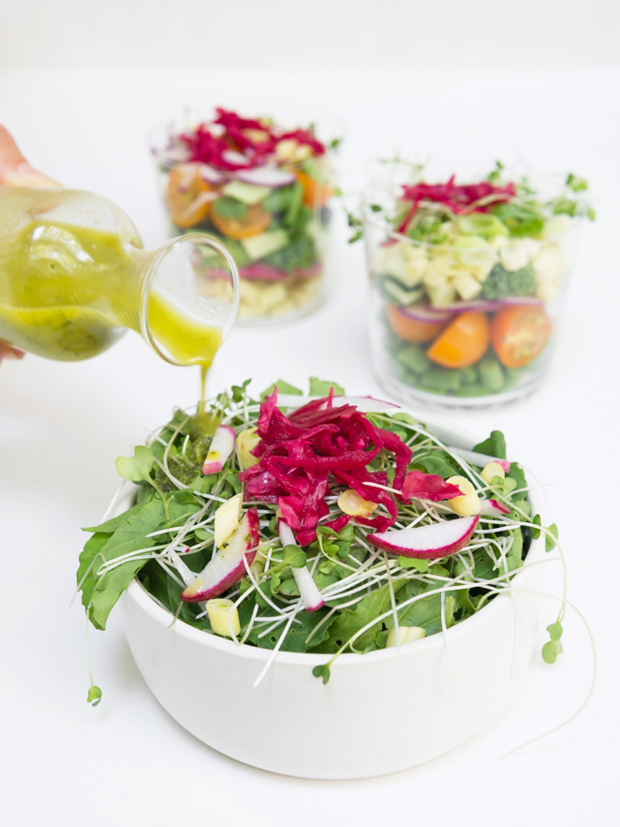 chopped salad with orange, mint + basil dressing
