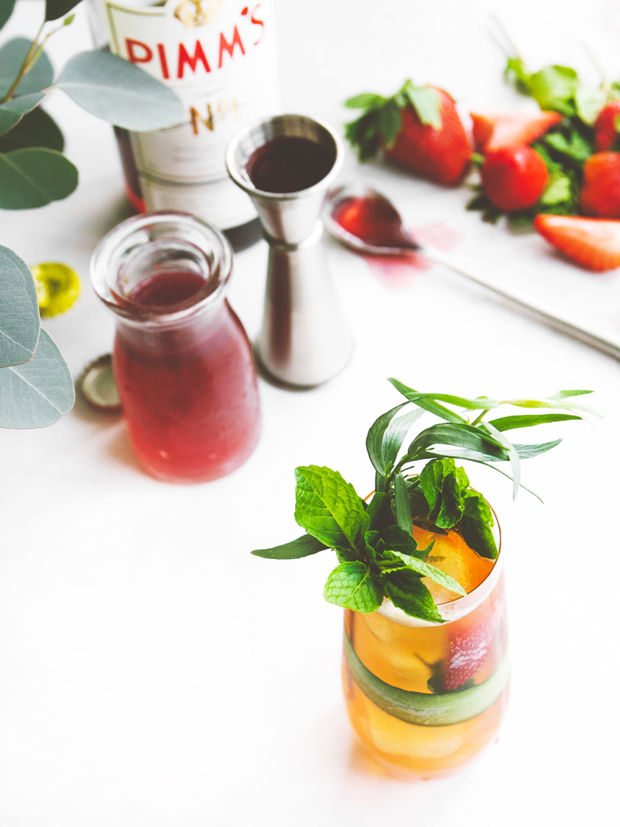 spring Pimm's Cup with strawberry shrub
