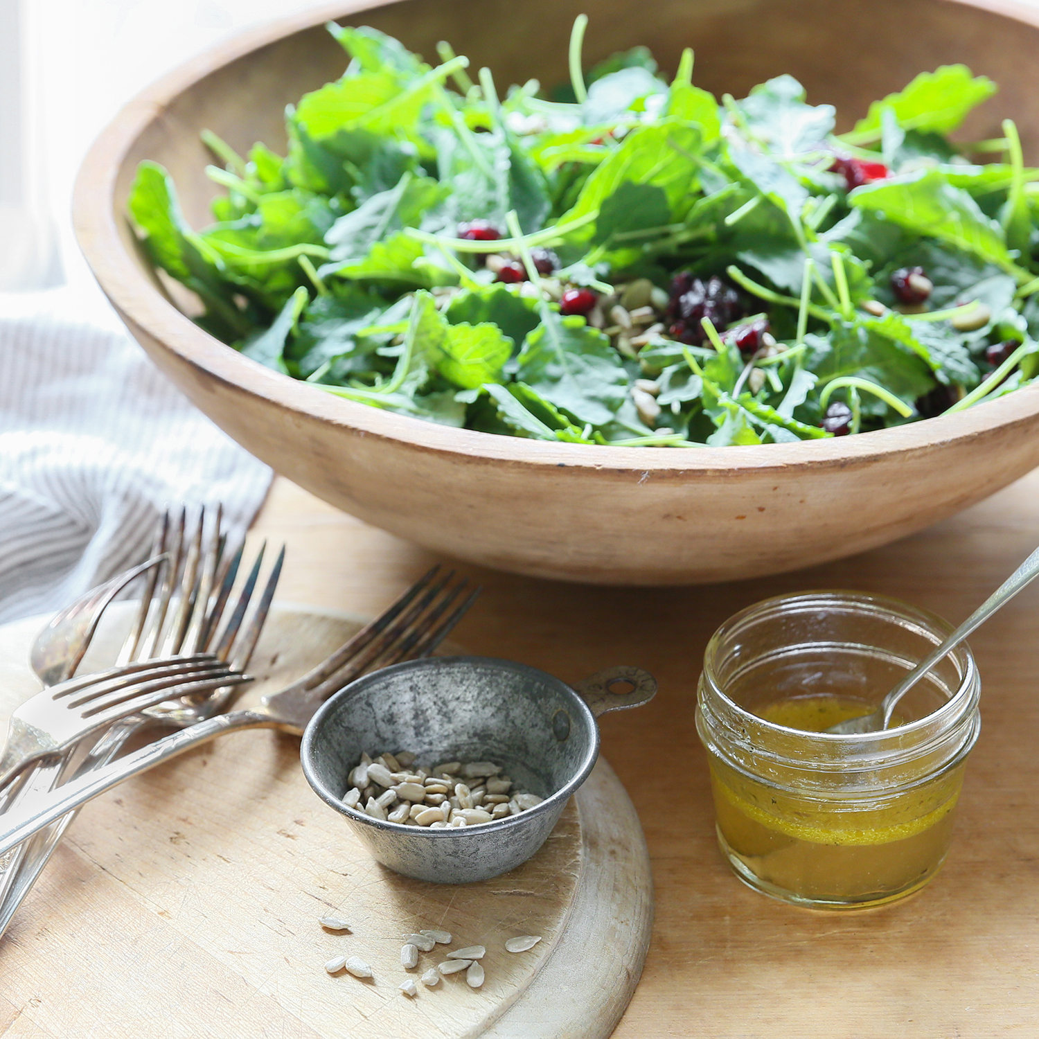 baby kale salad with maple dressing