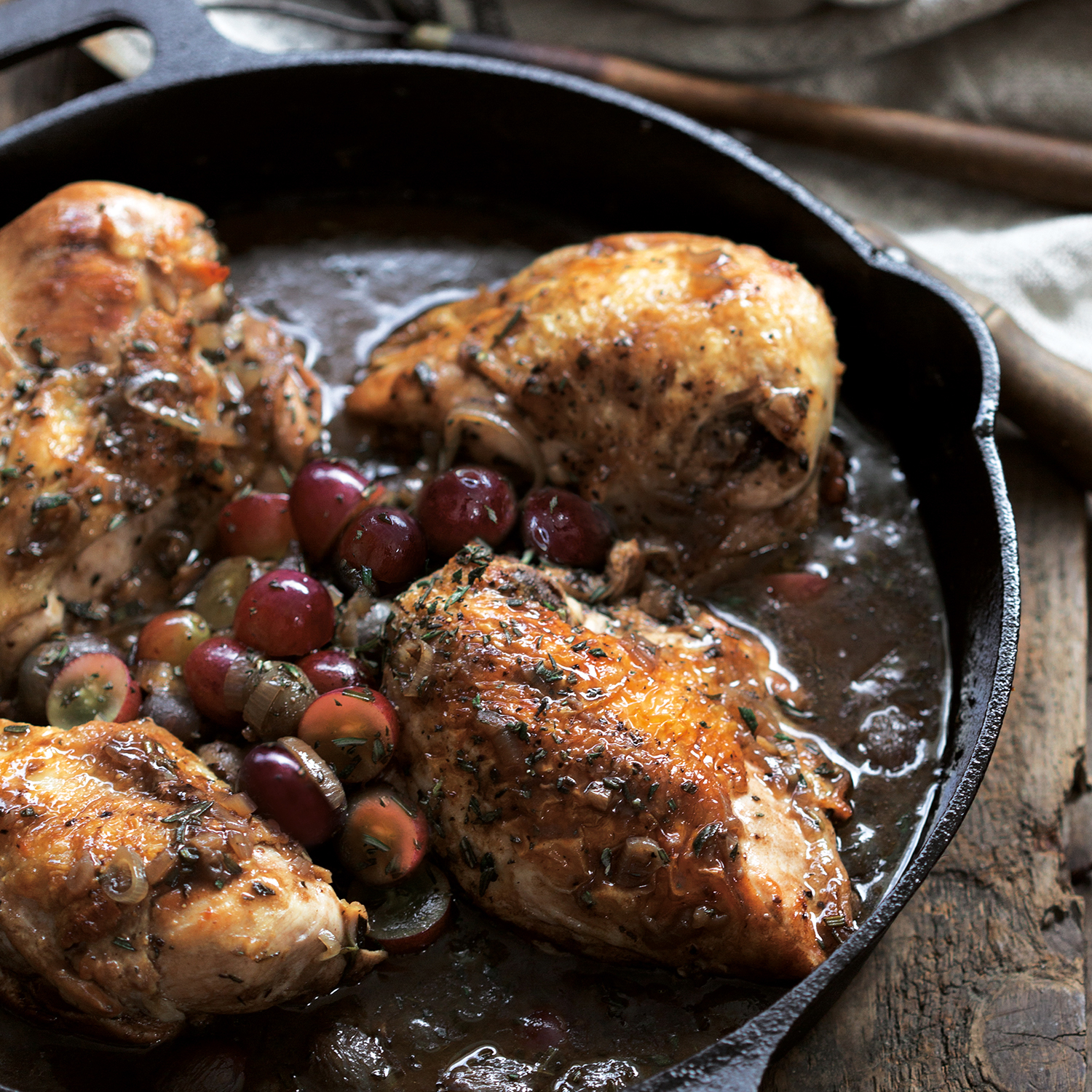 chicken with shallots + grapes