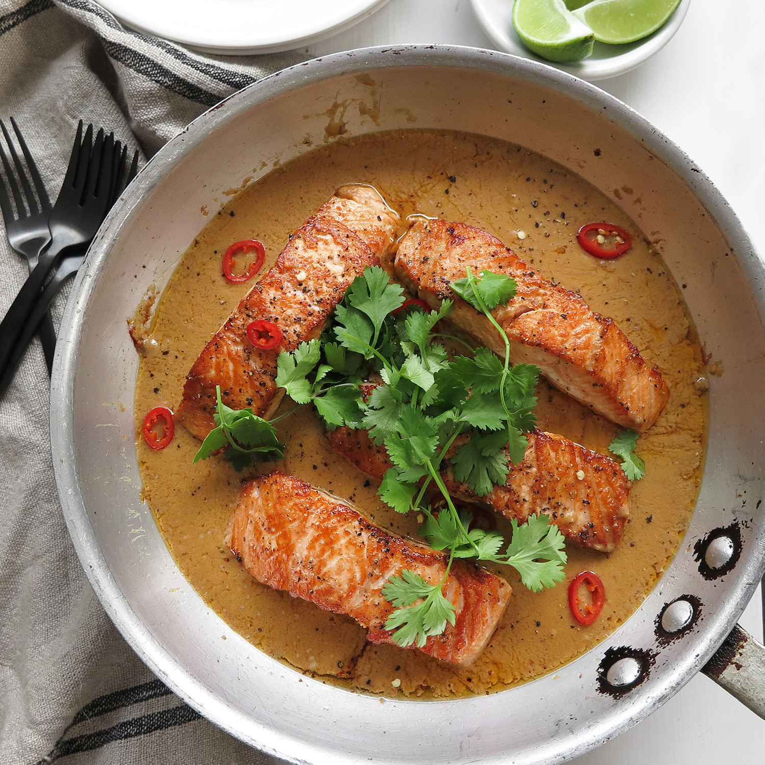salmon with spicy peanut sauce