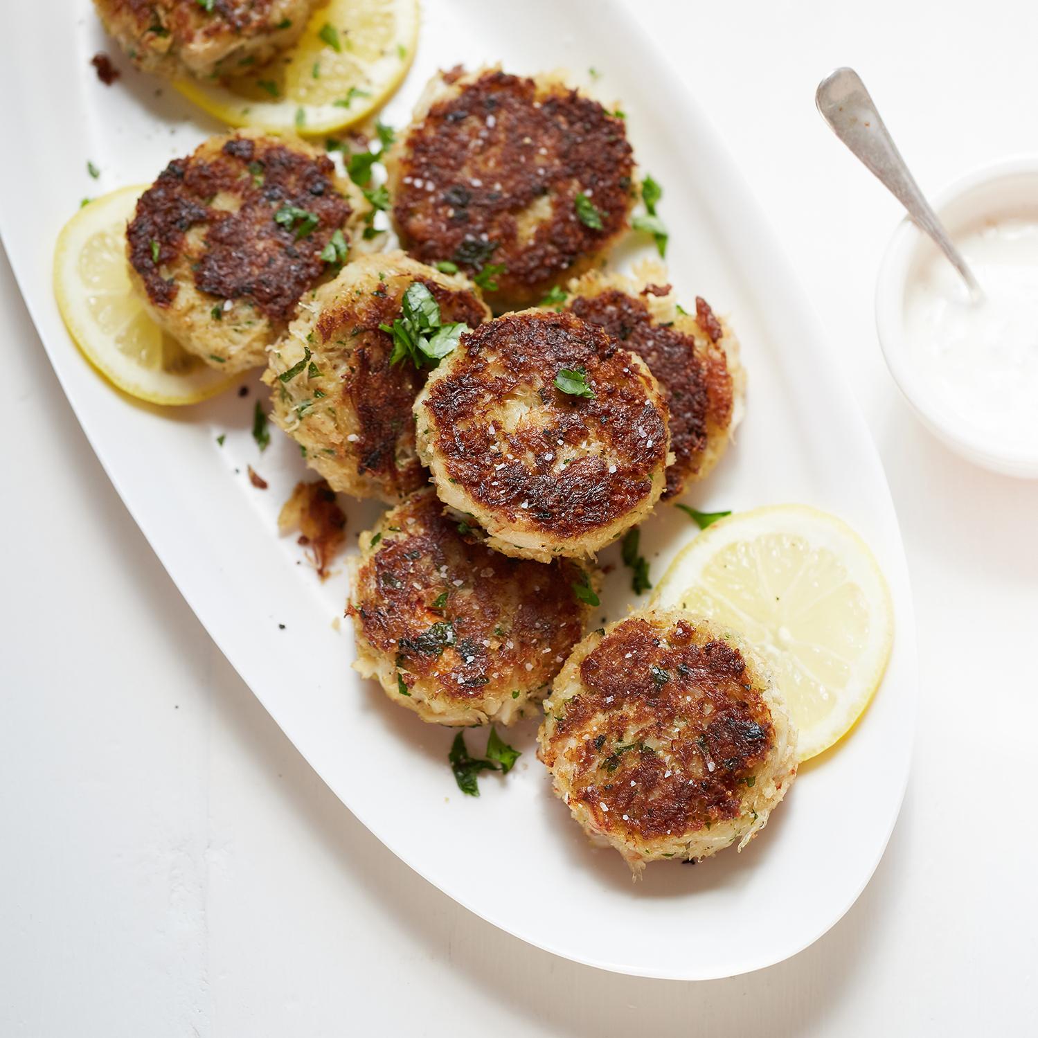 crab cakes with homemade tartar sauce