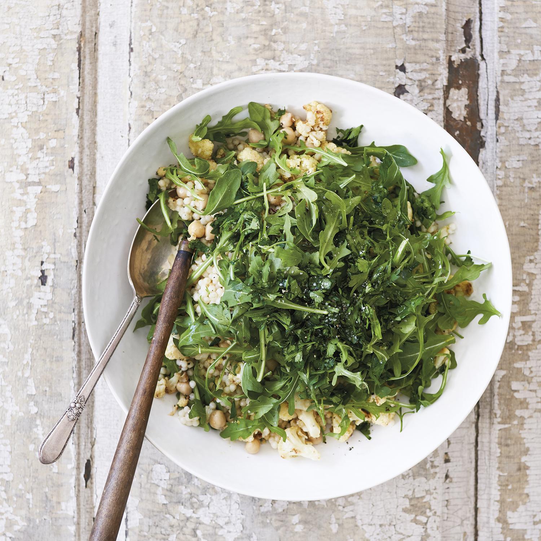 roasted cauliflower grain salad
