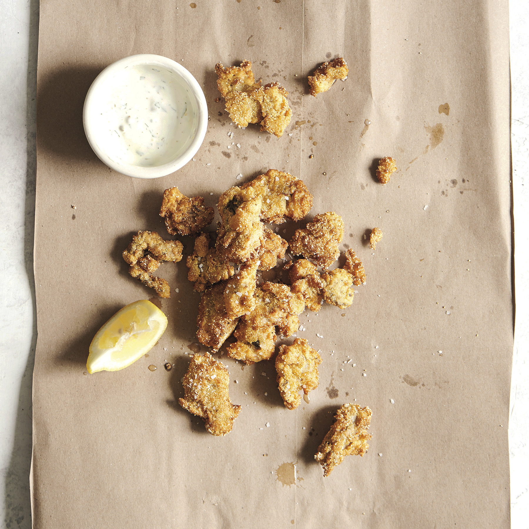cornmeal fried oysters with homemade tartar