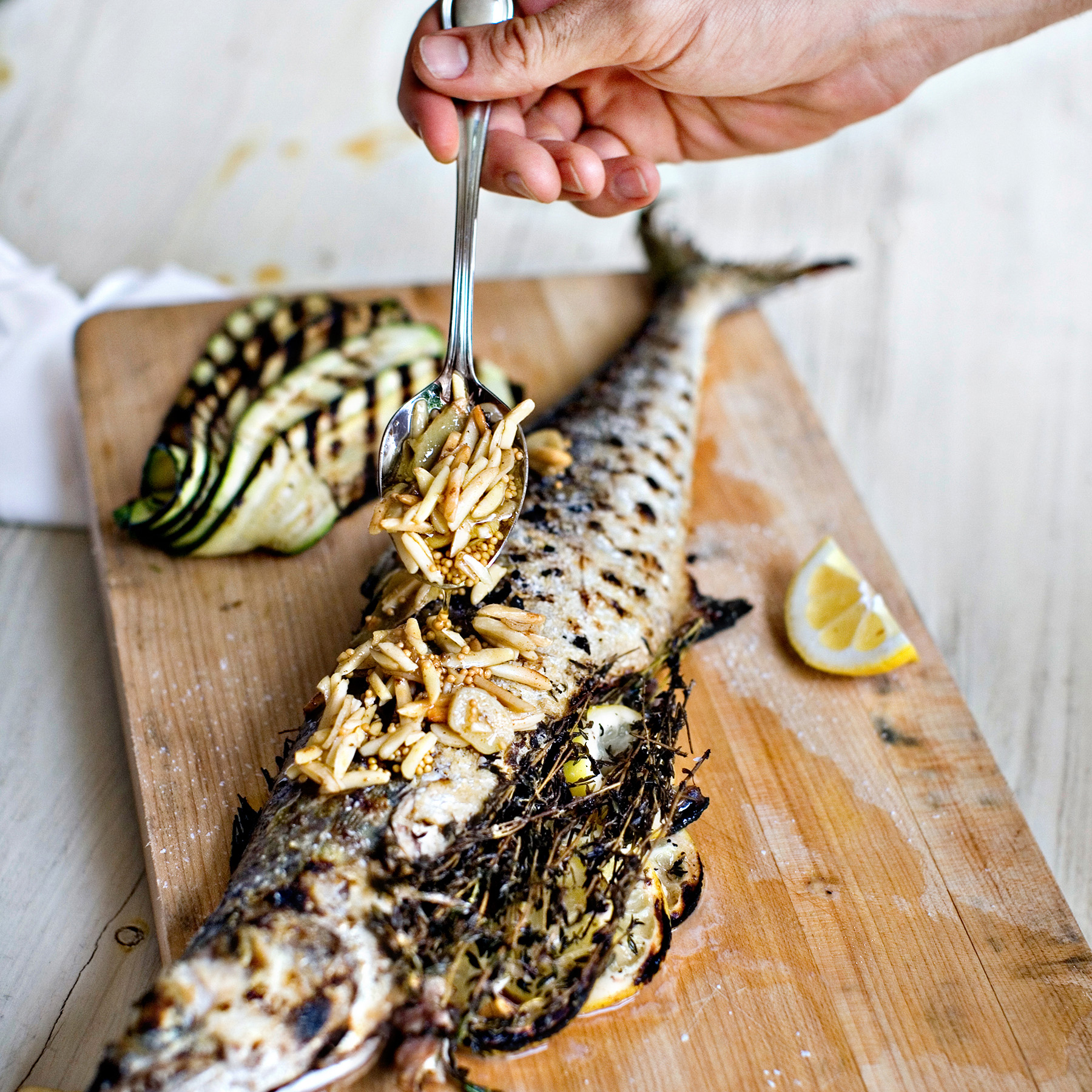 grilled mackerel with almond-ginger-mustard butter