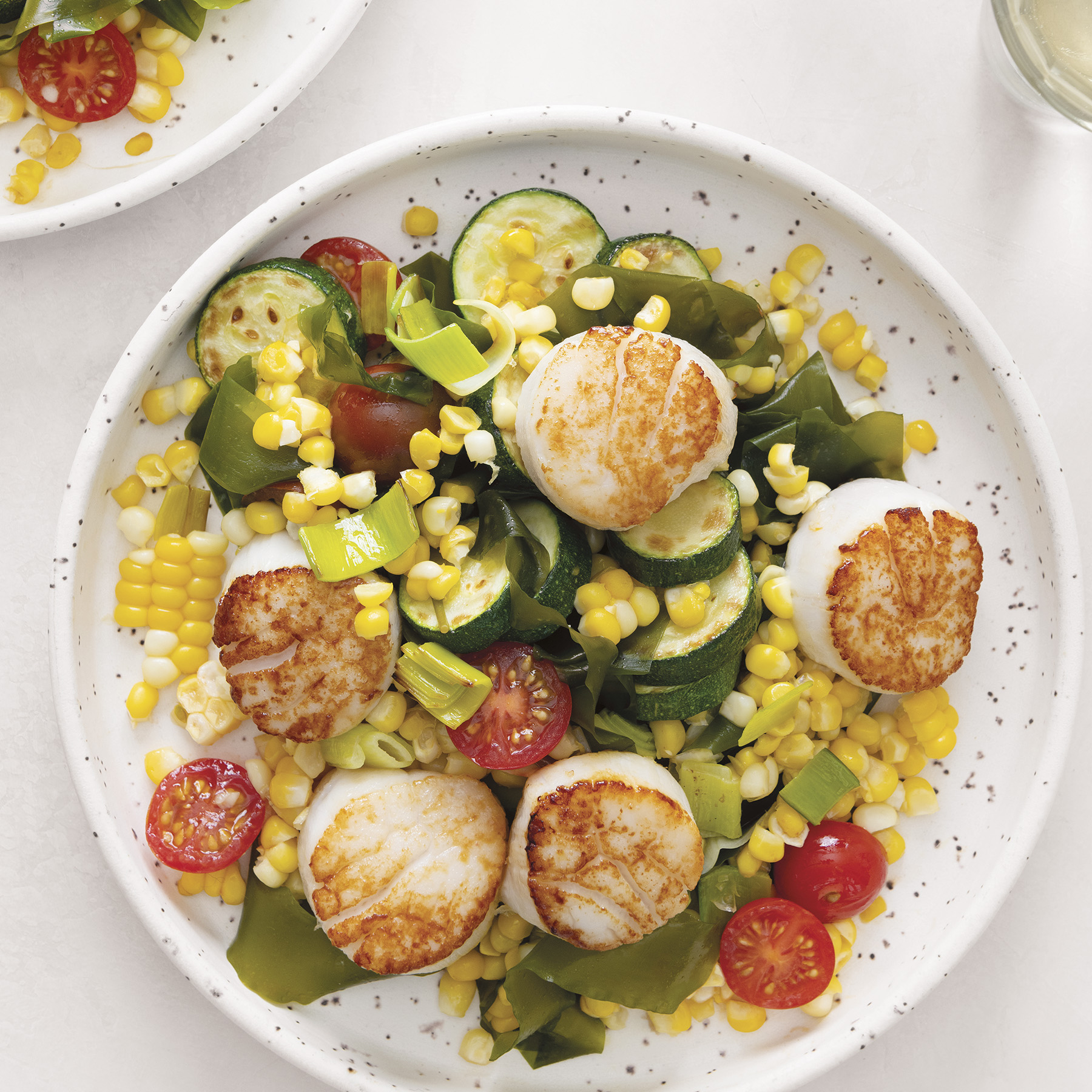kelp summer succotash with scallops