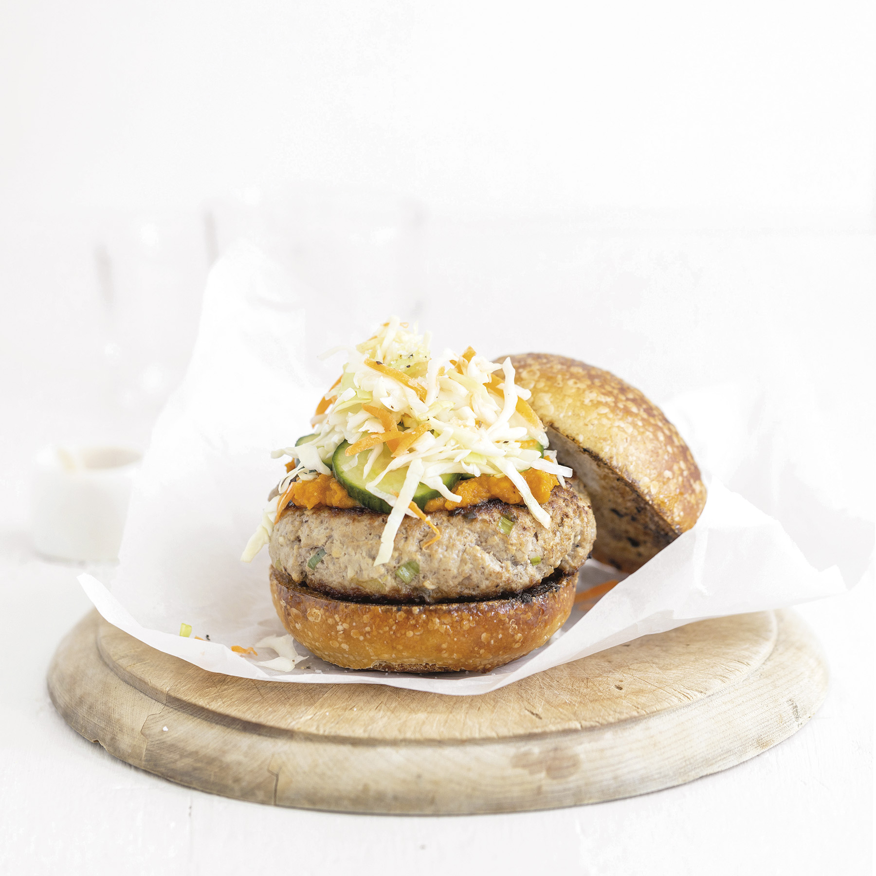 Asian pork burgers with slaw