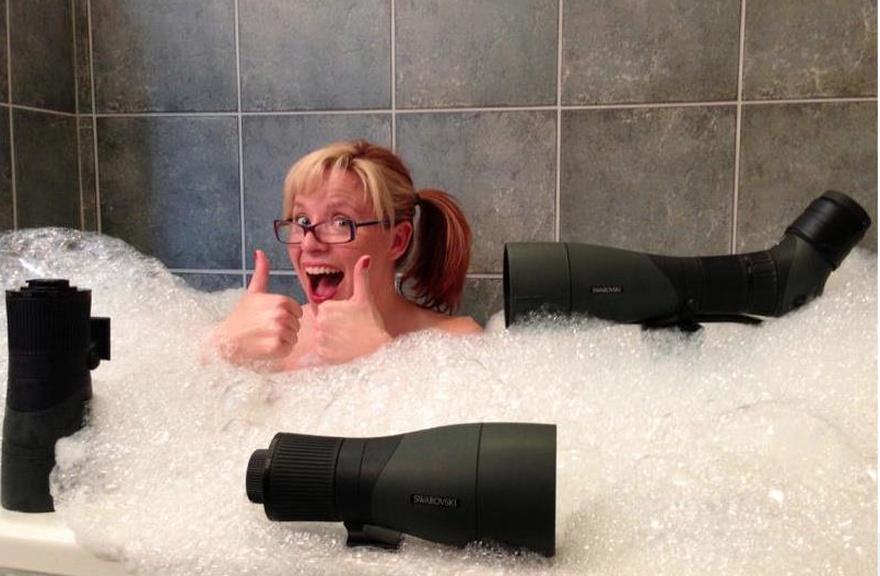 Living the dream: taking a bubble bath with Swarovski spotting scopes--they really are that waterproof!