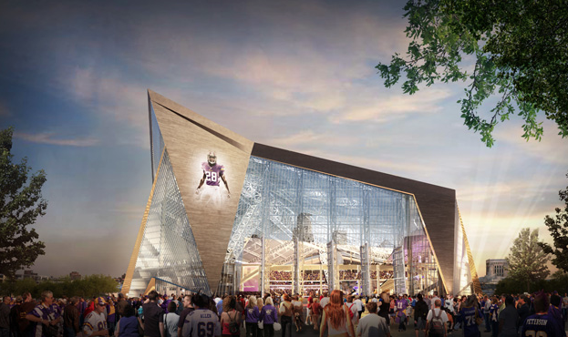 The new stadium being built for the Minnesota Vikings.