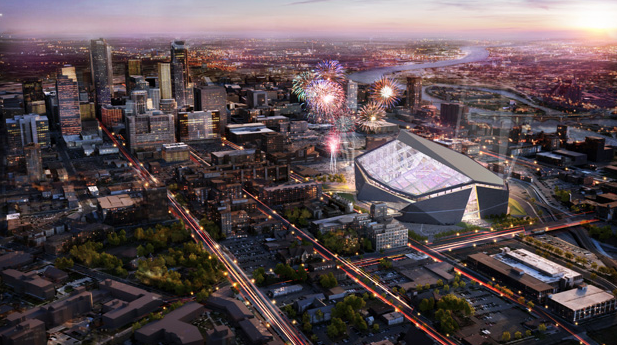 Artist rendering of the new stadium. Note how close it is to the Mississippi River.