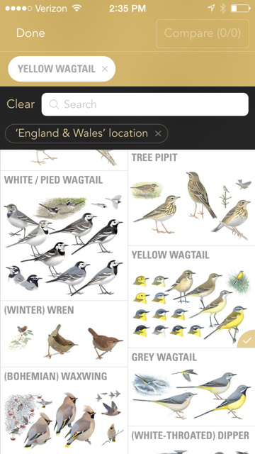 Screenshot of the new Collins Bird Guide app available  for iPhones and iPads on August 14, 2015.