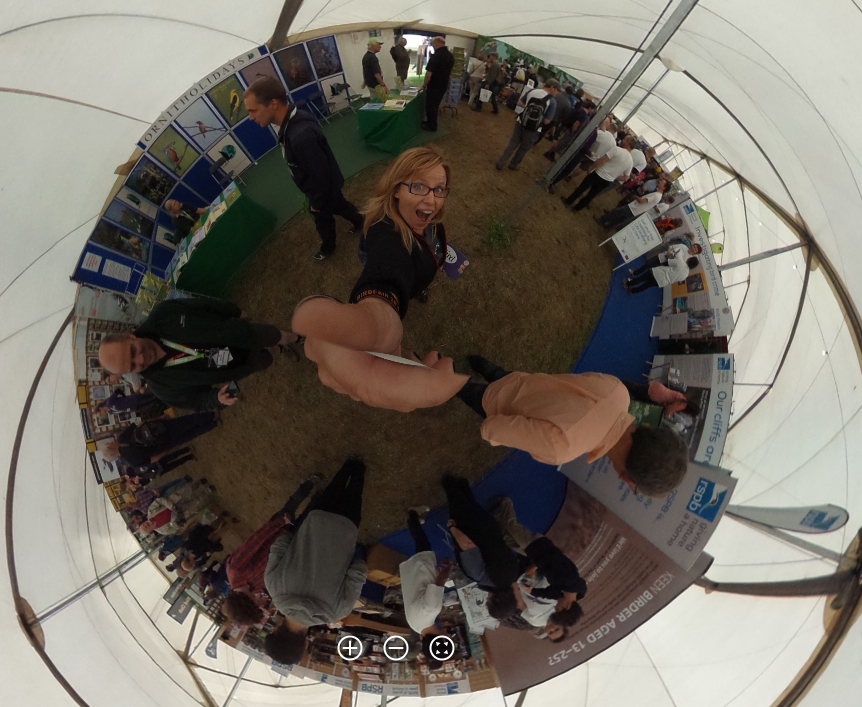 This is an image taken with the  Pentax Ricoh Theta -- I was trying to give an idea of what it's like to be in the thick of the crowd.