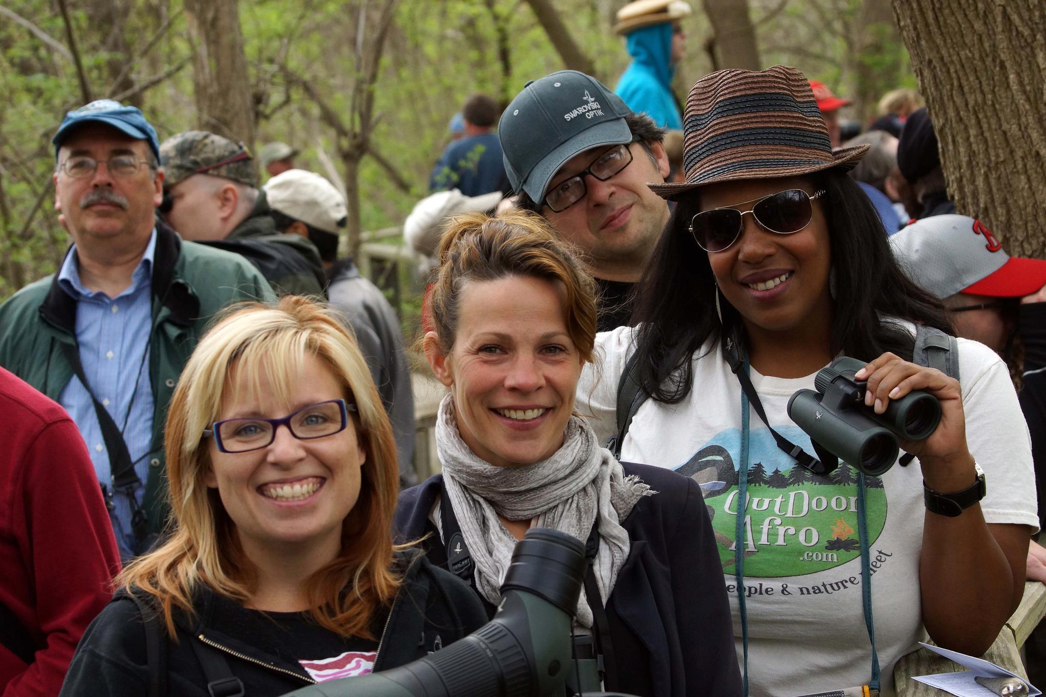 Birders pack the Magee Marsh boardwalk.