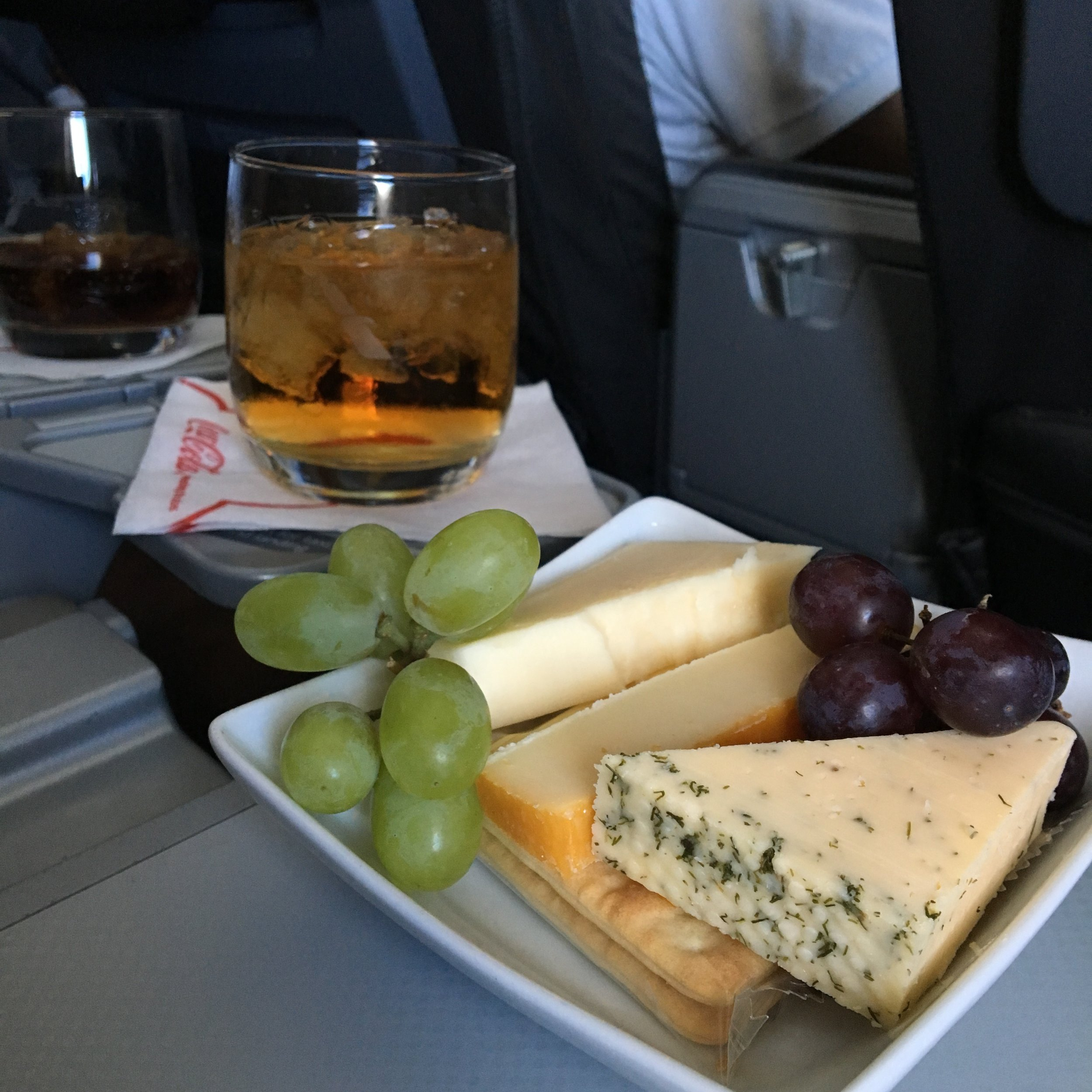 First class on an International Flight doesn't play any games when it comes to food or booze. Thank you, American Airlines.