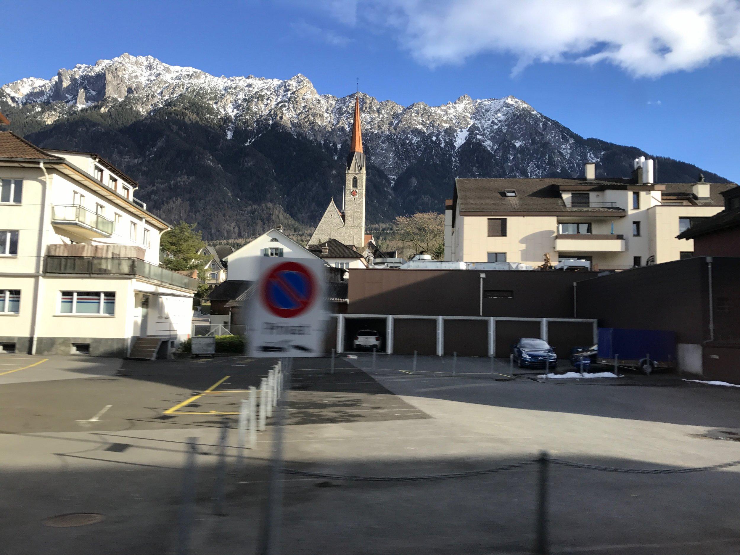 Our driver whisks us through Schaan,largest municipality of Liechtenstein.