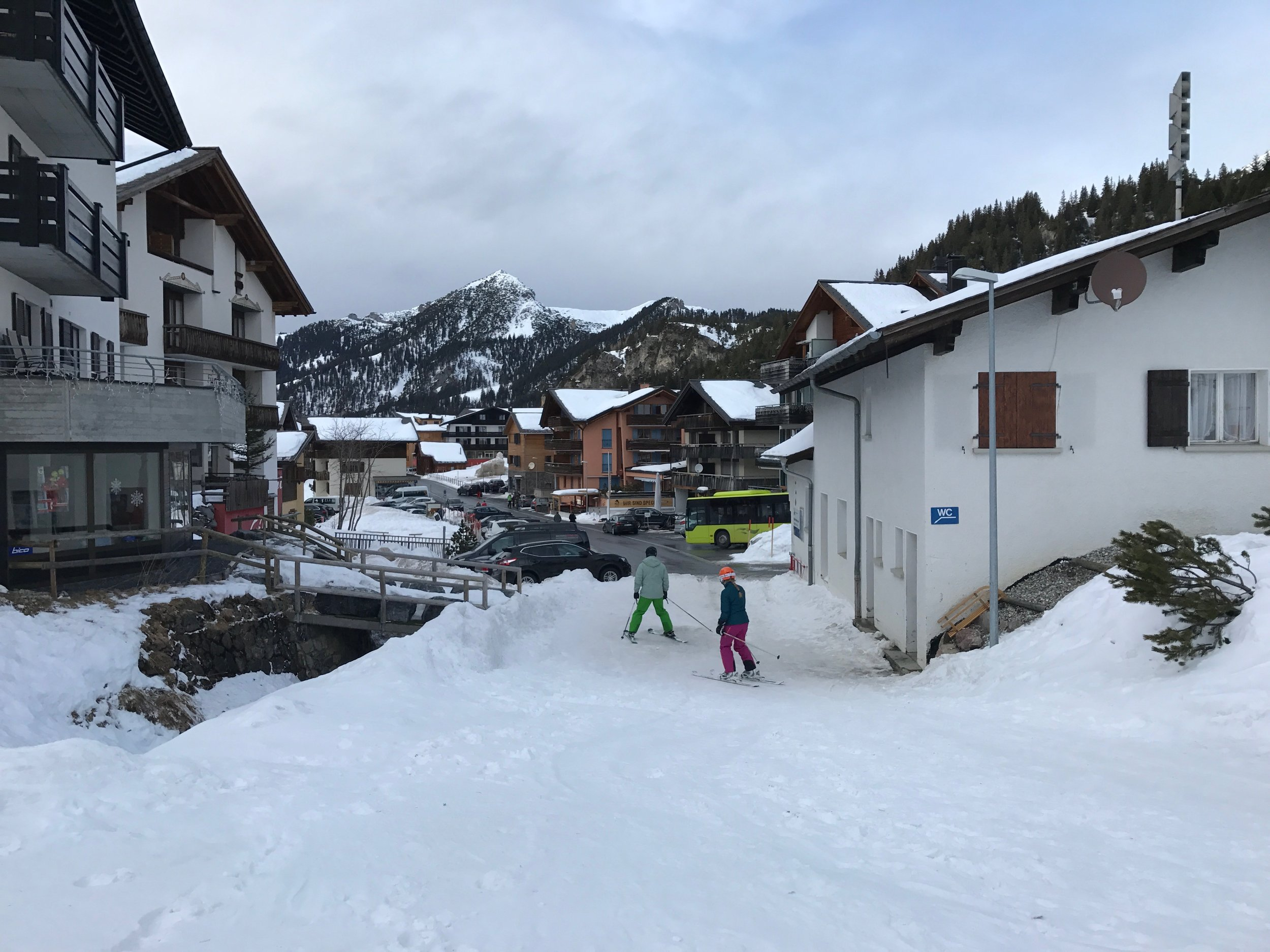 We arrived in the resort village of Malbun and had to be careful to dodge the skiers.