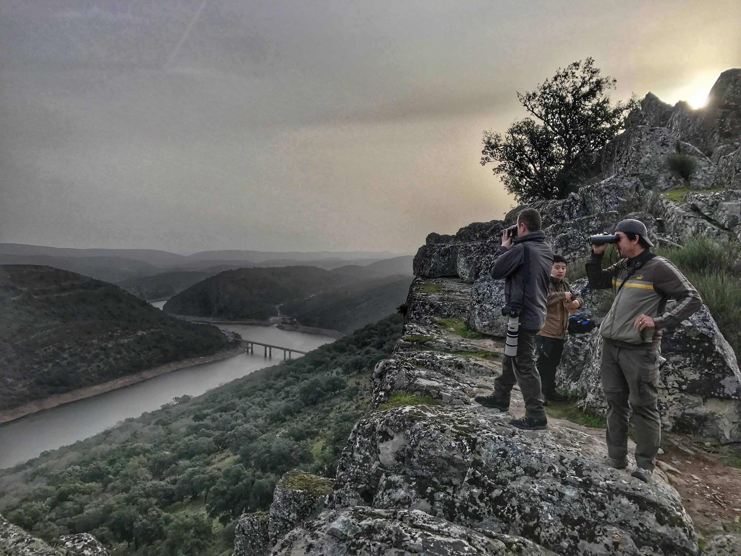 Birders looking badass as hell climbing up to Monfragüe Castle to do some birding in Monfragüe National Park in Extremadura.