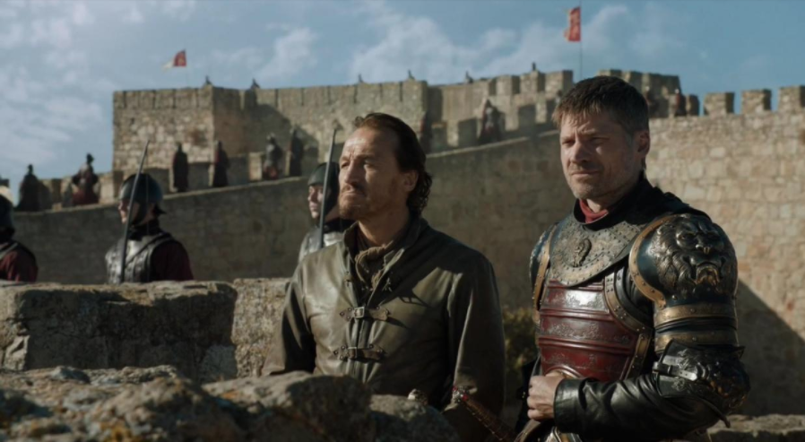 There we go, Bronn and Jaime hanging out on Trujillo Castle.