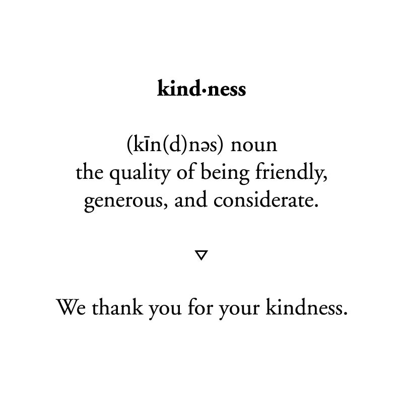 Here at Of Note we will be taking this week to recognize those who have been kind to us along the way.