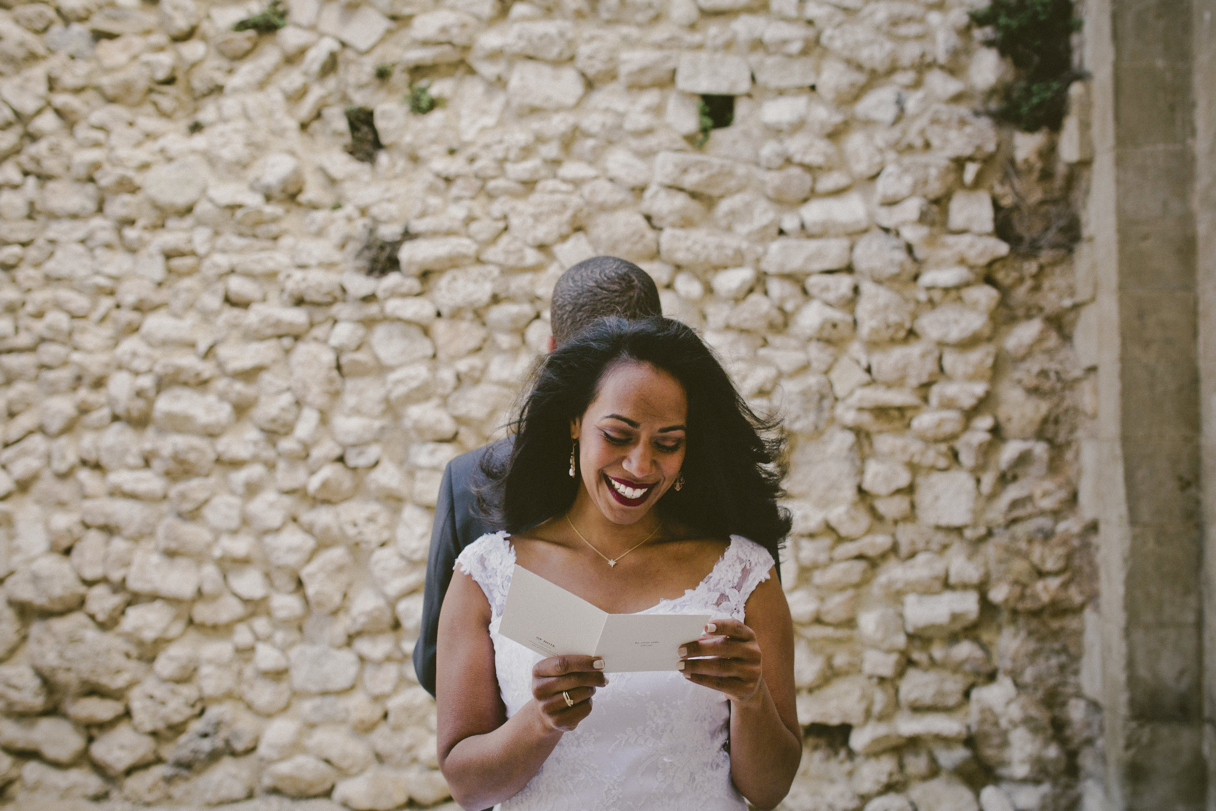 Letter Reading for the First Look | Of Note Stationers | Amy Emily Photography