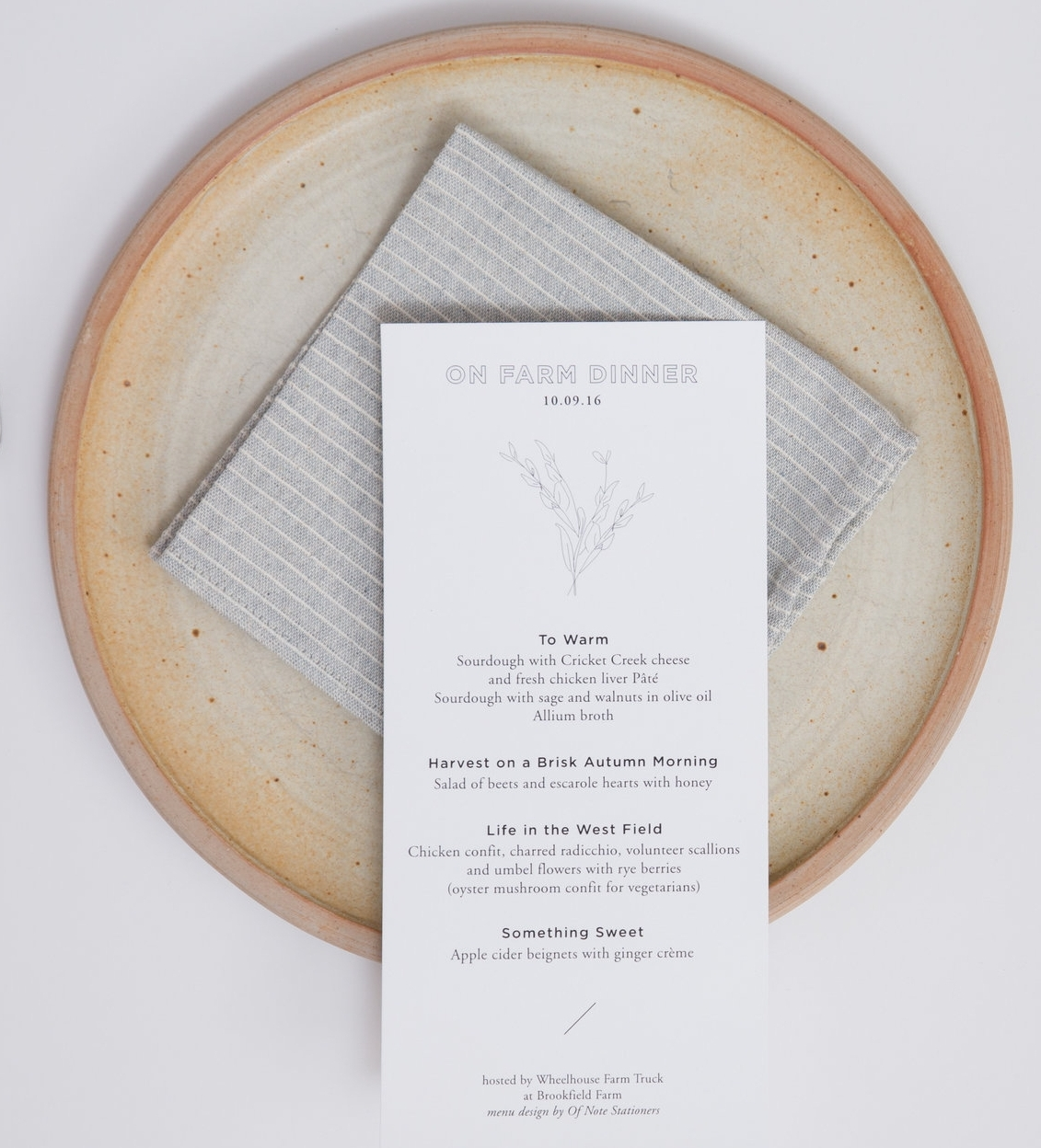 Menu design - Of Note Stationers, Ceramic Plate -  ShanMan Clay Co. , Photograph -  Paul Rutherford Photography