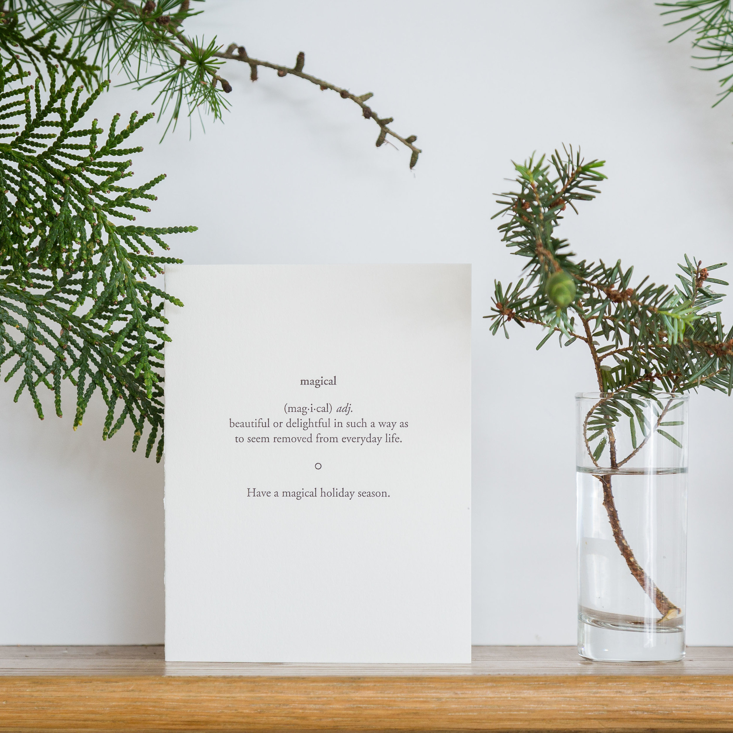 The holidays are a little bit of magic aren't they? Send your wishes for a beautiful and delightful holiday season with this simple yet meaningful letterpress card.