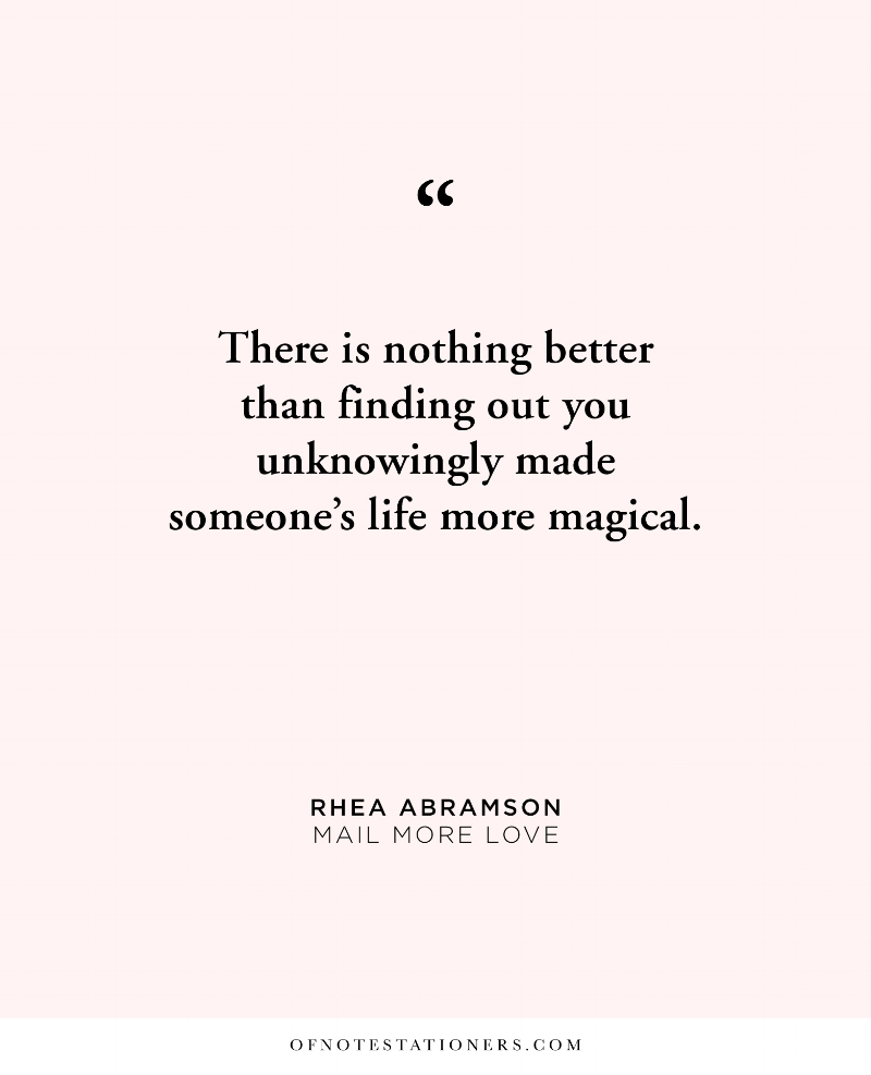 Leaning into vulnerability to let someone know how they inspire you, a conversation with Rhea Abramson | Of Note Stationers