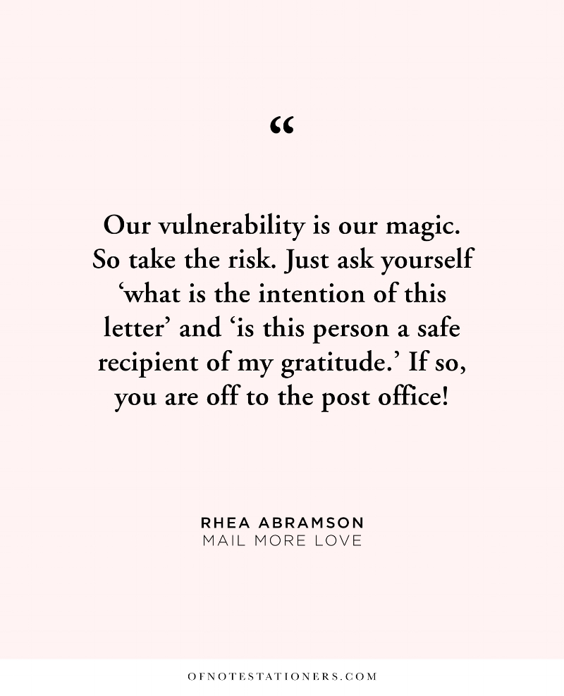 Lean into your vulnerability to express gratitude to and for the people who inspire you, a conversation with Rhea Abramson | Of Note Stationers