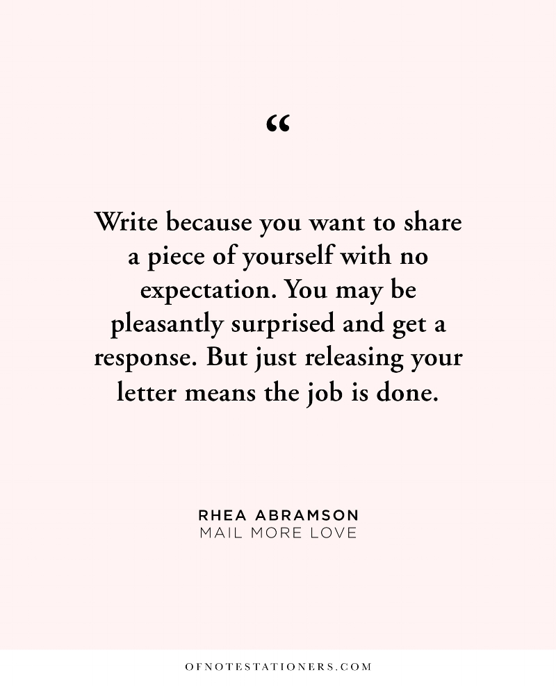 """Rhea's one piece of advice for starting a """"Let me tell you how you inspire me"""" letter writing practice 