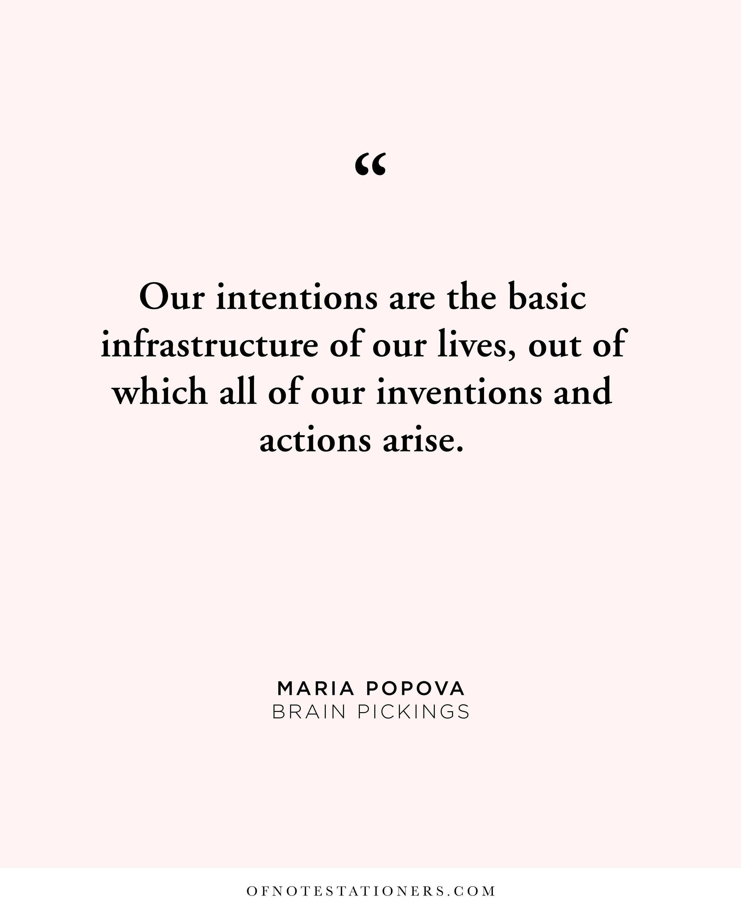 Maria Popova Intention | Of Note Stationers