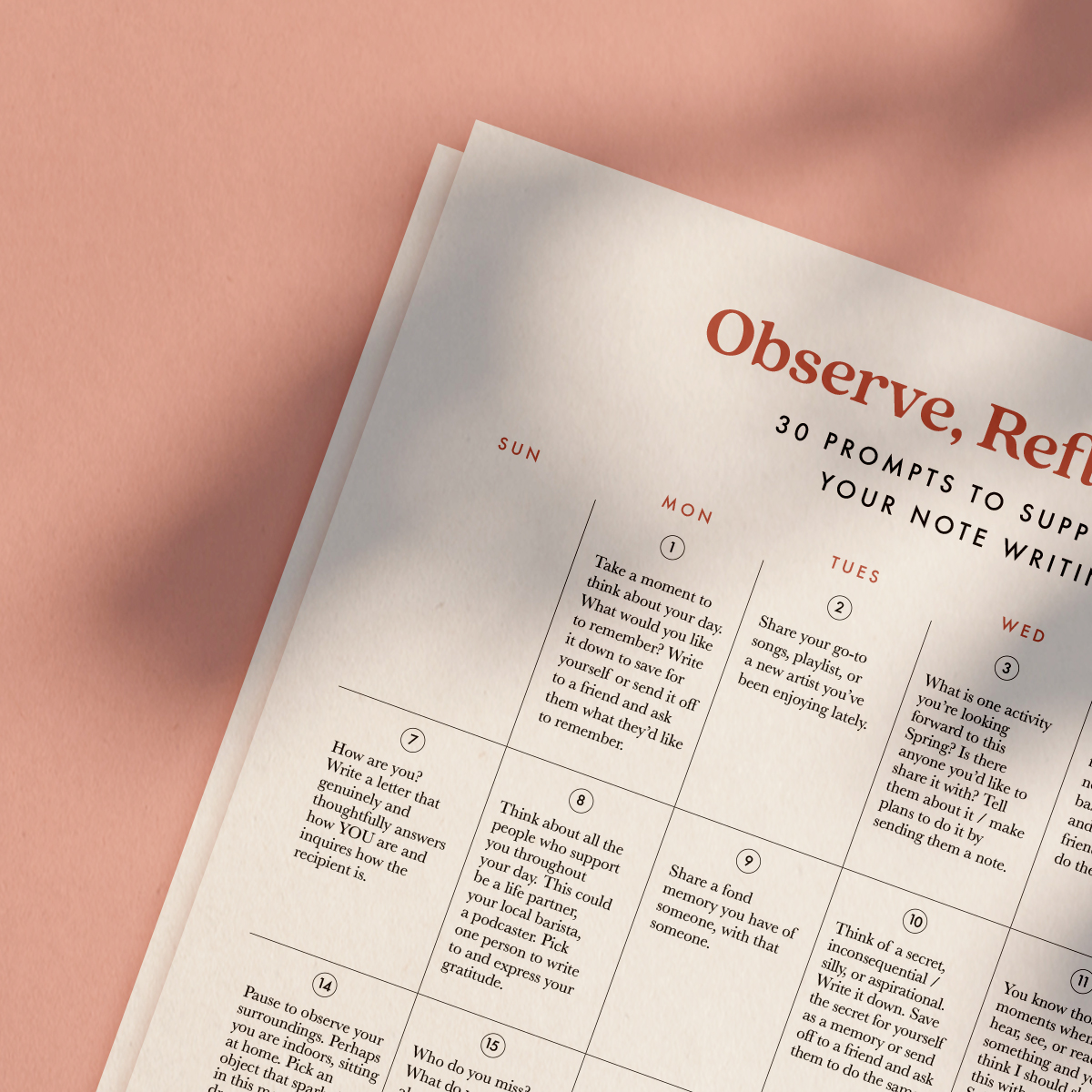 30 Day Reflective Prompt Calendar   Take Note of Your Life   Of Note Stationers