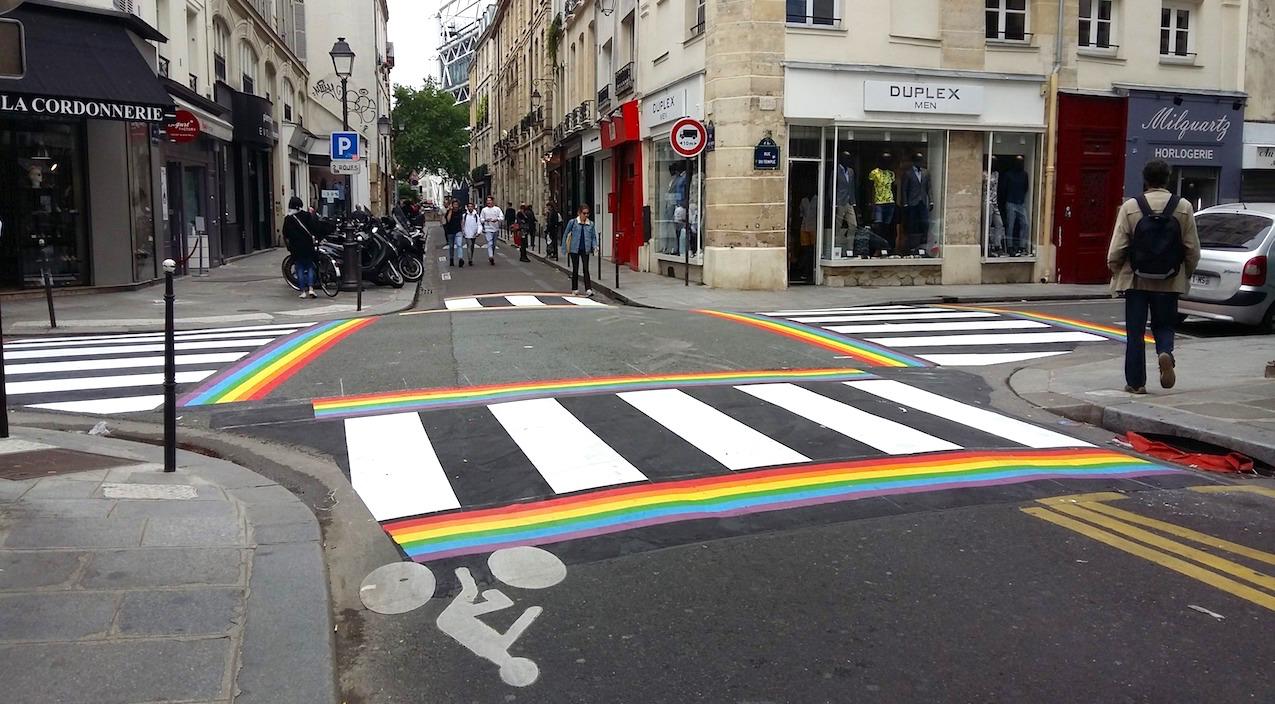 New rainbow crosswalks in the Marais tout pride in Paris.