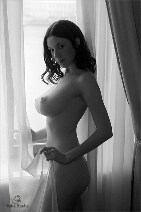 girl curtain big breasts black white.jpg