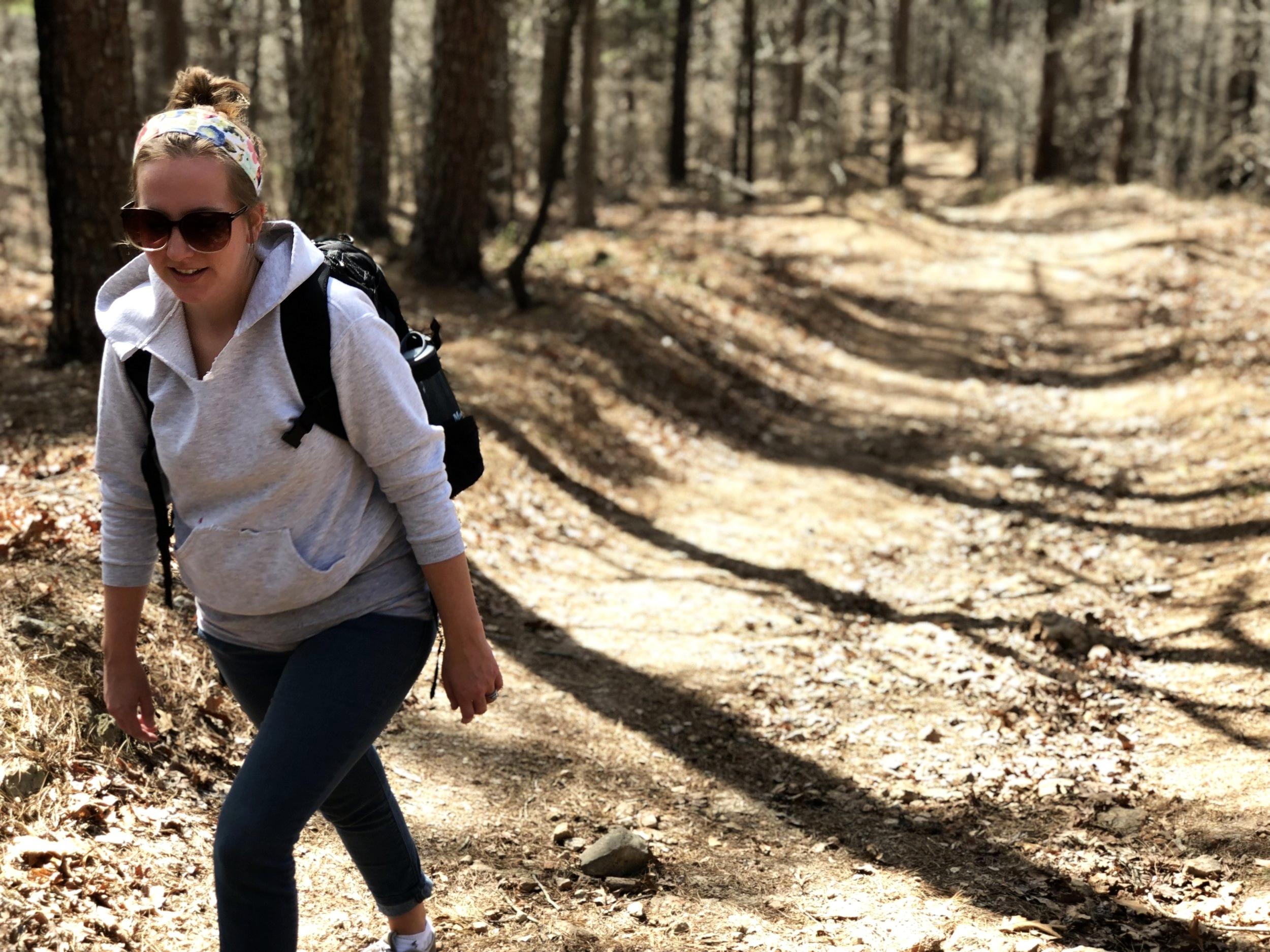 Hiking to dig quartz